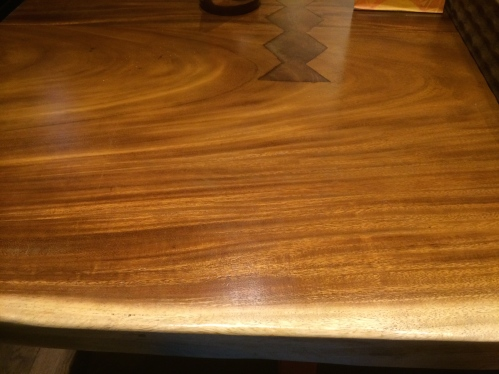 Red wood table at nandos 2